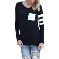 Striped Long Sleeve Casual Shirts Women Pocket Patchwork Sim...