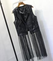 Женская прохладный мода o-образным вырезом без рукавов искусственная кожа лоскутное марлевые сетки нижней средней длины пальто жилет SML