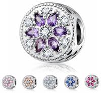 925 gümüş kaplama çiçek şekli 6 farklı renkler için gevşek boncuk kolye, kolye charms, 4.3mm büyük delik pan bilezikler charms