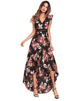 2018 الربيع والصيف ارتداء المرأة الأوروبية الجديدة ، الأكمام Feifei ، غير النظامية المطبوعة التنانير الطويلة ، والفساتين الحلو.