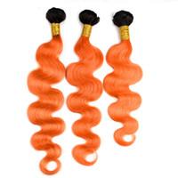 Ombre Farbe 1B Orange Dunkle Wurzeln 3 Bundles Brasilianische Körperwelle Haarwebart Schuss 300G 1B Orange Menschenhaarverlängerungen Two Tone