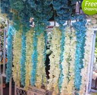 2 Metro de Largo Elegante Flor de Seda Artificial Wisteria Vine Hydrangea Rattan Para La Boda Decoración Accesorios 10 colores en stock