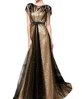 La robe de soirée A-ligne de paillettes de nouveau style pour femmes paillettes de robes de bal avec manches longues robes d'occasion spéciale