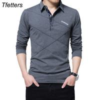 Tfetters Marque T Shirt Hommes Long Tshirt Tourner - Dénudé Stripe Designer T-Shirt Slim Fit Lâche Casual Coton T Shirt Homme Plus La Taille
