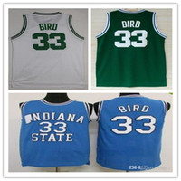Men' s STATE 33 Larry Bird jersey Indiana State Sycamore...