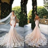 Bröllopsklänningar 2019 Mermaid Sexig Sheer Neck Cap Sleeve Lace Appliques Bodicese Sweep Train Bridal Gowns Vestios De Novia