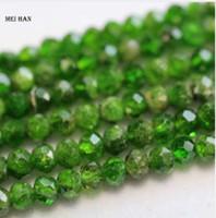 الجملة الطبيعية 2.5 * 4MM الأوجه rondelle ديوبسيدي الأخضر اليدوية حجر فضفاض الخرز لصنع المجوهرات