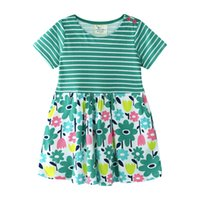 Quality Summer Girls Floral Dresses Stripes Kids clothing Wh...