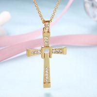 التصميم الكلاسيكي سبيكة يسوع الصليب الذهب سلسلة الهيب هوب مجوهرات رجال قلادة أحرف الفيلم بيان القلائد سريع وغاضب