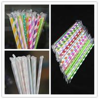 19,7 cm * 6mm gerade coloful papier strohhalme mit einzelnen papier membrane paket umweltfreundliche party stroh rohre für trinken saft großhandel