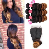 Brazilian Virgin Ombre Loose Wave Bundles with Closure 10A 3...