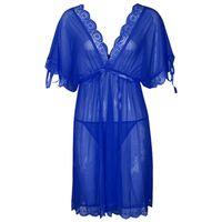 Moda cetim das mulheres camisola Sexy Lace Long Nightgowns Batwing manga com decote em v mulher pijamas camisola Chemise Lingerie