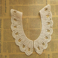 parches cuello de tela Apliques de escote para vestido / boda / camisa / ropa / bricolaje / artesanía / flor de costura Encaje floral gota redonda