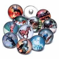 12 unids / lote Horse Theme Charms de cristal 18mm Joyería de botón Snap de 18mm Snaps Pulsera Joyería Snap KZ0677