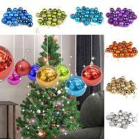 24 Pçs / lote 10 Cores Bola de Árvore de Natal Baubles Xmas Carnaval Partido Pendurado Ornamento Decoração de Natal Suprimentos Novidade Presentes