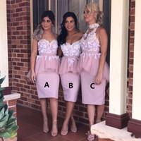 Blush cor-de-rosa 3 estilos curtas vestidos de dama de honra espaguete fora do ombro pescoço alto vestidos de festa sem mangas com branco applique brdesmaid vestidos