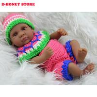 Silicona cuerpo del bebé 28cm Mini bebé Renacido afroamericano muñeca Negro completo de la muchacha de Reborn Baby Dolls para niñas