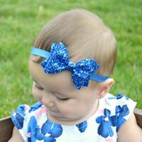 새로운 귀여운 밝은 신생아 스팽글 활 매듭 소녀 탄력 활 머리 활 머리 키즈 모자 소녀 헤어 액세서리