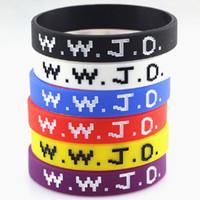 WWJD Brief Armband Silikon Armband Armreif Was würde Jesus tun Christian Bibel Gummi Debossed Manschette Armbänder Armband Schmuck billig