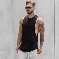 O-boyun Erkek Yaz Spor Salonları Giyim Spor Vücut Geliştirme Tank Top Stringer Atlet Crossfit Katı Renk Yelek Kolsuz Gömlek Erkek Sling
