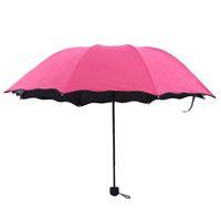 A folha de lótus lado todo o tempo guarda-chuva flor na água prova ultravioleta três guarda-chuvas dobrados originalidade sombrinha boa qualidade 9 2hr W