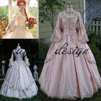 Rosa gótico bola vestido vintage 1920s estilo cucharada de cuerpo entero manga larga vestido de fiesta personalizado hechos a medida Victorian Gothic Lolita Vestido Brodode