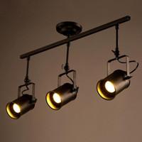 1/2/3/4 Culasses Loft plafond Pendant Light Industrial piste lampe Spotlight couleur noire