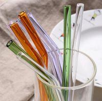 Cristal de color resistente al calor Cristal para beber Paja de leche Jugo de té Mujer embarazada Paja de leche perezosa