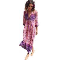 Boho Robe Chic Imprimé Floral Coton Maxi Dess Col V À Manches Longues Gland Femmes Robes 2017 Automne Bohême Femme Robes