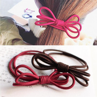 5 Candy Colors Solid Ribbon Bow Rubber Bands Scrunchie Hollo...