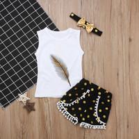 Bebek Kız Yaz Giysileri Setleri Tüy Baskı Yelek Nedensel Tops + Nokta Püskül Şort Altın Kafa Yaz Kız Giyim Setleri 3 adet / takım