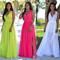 2018 V Neck Split Chiffon Long Dresses For Women Bohemian St...