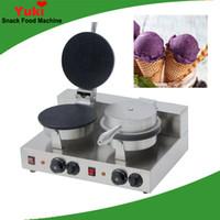 Yeni Ticari Çift Kafa Dondurma Koni Makinesi Makinesi Dondurma Waffle Kağıt Makinesi Yuvarlak Waffle Koni Makinesi Paslanmaz Çelik