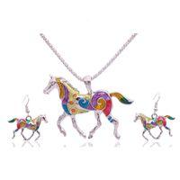 1 set (NecklaceEarring) Moda Drop Olio Cavalli Hang Pendant Neckace Orecchini etnico costumi Colorful collana orecchino per le donne ragazza