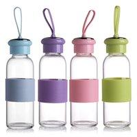 450 мл Путешествия Чайник Симпатичные Контракт Стиль Стеклянная Бутылка Воды Сейф Non-Slip Бутылка Силикона Высокого Качества Подарка Здоровья