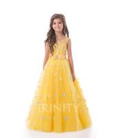 Brillante giallo tulle gioiello applique perline flower girl dress abiti da ragazze abiti da passeggio per ragazze vacanze / abito da compleanno / gonna formato personalizzato 2-14 DF710349