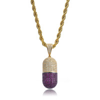 Hip Hop Pill Necklace Can Open Capsules Pendant Cubic Zircon...