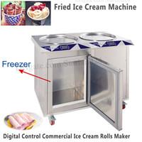 55cm çift tava rulo dondurma makinesi haddelenmiş kızarmış buz yoğurt makinesi dahili dondurucu yepyeni