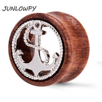 Ear Plug in legno Tunnel Nuovo design Anchor Silver Gold Hollow Body Jewelry Piercing Plugs Barella Calibri Kit orecchino