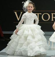 Weiße Prinzessin Girls Pageant Kleider lange Ärmel Spitze Tiered Blumenmädchen Kleider für Hochzeit Baby Mädchen Geburtstag Party Kleid nach Maß