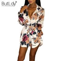 2018 Mode Slip Satin Dames Robes De Soirée Imprimer Floral T Shirt Dress Femmes Sexy Mini Court Manches Longues D'été Automne Robe D1891704