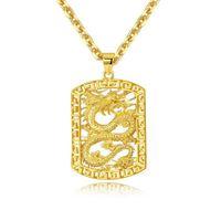Collana a forma di ciondolo a forma di drago con ciondolo a forma di cuore in oro giallo 18k con bei gioielli da uomo