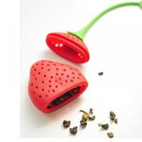 딸기 모양의 실리콘 차 주입기 스트레이너 실리콘 차 필러 가방 볼 디퍼 150pcs