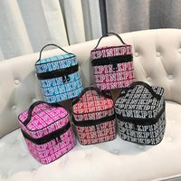 Pink Letter Cosmetic Bag Letter Print Makeup Bag Women Trave...