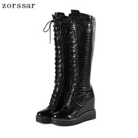 fe5ce72edabe  Zorssar  Genuine Leather Female High Boots Women Knee High Boots heels  Platform Wedge Womens Shoes Winter Fur Snow