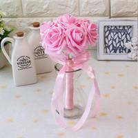 핑크 화이트 신부 결혼식 꽃다발 다채로운 결혼식 장식 인공 신부 들러리 꽃 진주 구슬 신부 들고 꽃 cpa1560