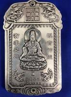 Plaque amulette exquise de la statue en relief en argent tibétain chinois de Kuan-yin Bodhisattva