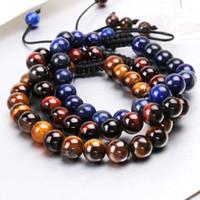 8mm Natürlicher Steinperlenarmband Natural Tiger Eye, Lapislazuli, hellgrüne Perlen Handgemachte Seil gewebte Armbänder für Männer und Frauen