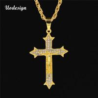 Uodesign Golden Bling Gesù Cristo Catene di cristallo Hip Hop Regali di gioielli di Natale Strass Crossing Pendenti Collane per gli uomini