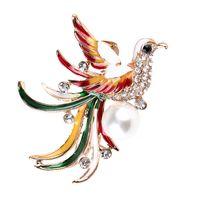 الطاووس بروش فينيكس دبابيس ملون الطيور دبوس أزياء المرأة الزفاف الزفاف معطف الملابس اكسسوارات الفتيات هدية دبابيس المجوهرات